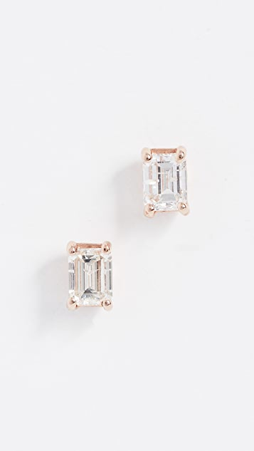Shay 18K Large Solitaire Emerald Cut Diamond Earrings