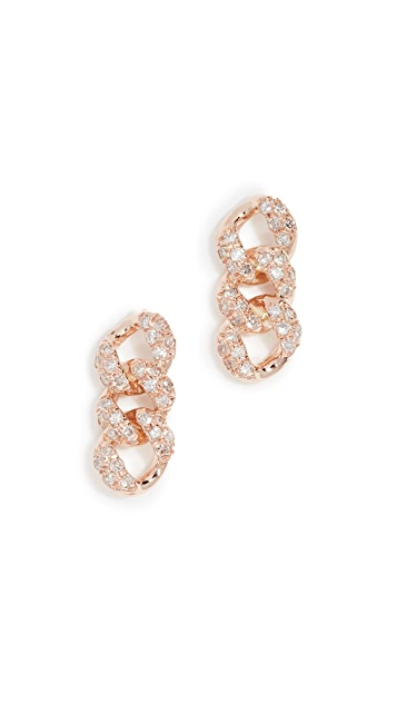 Shay 18k Essential Pave Link Stud Earrings