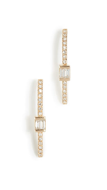 Shay 18k Baguette Bar Hook Stud Earrings