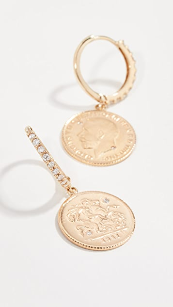 Shay Diamond Coin Drop Earrings