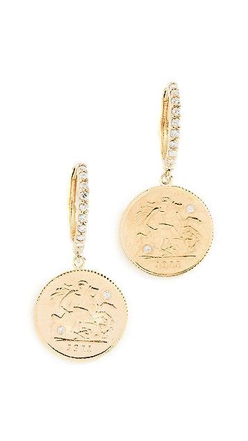 Shay 24K 菱形硬币吊坠耳环