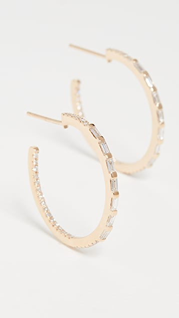 Shay 5 长方形宝石小号圈式耳环