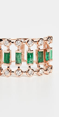 SHAY - 18k Emerald & Diamond Dot Dash Ring