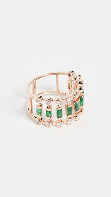 Shay 绿宝石和钻石圆点戒指