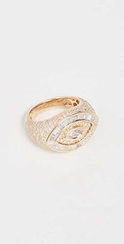 SHAY - 18k Pave Marquise Evil Eye Pinky Ring