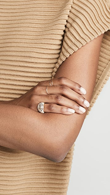 SHAY 18k Pave Marquise Evil Eye Pinky Ring