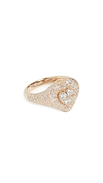 Shay 18k Pave Heart Pinky Ring