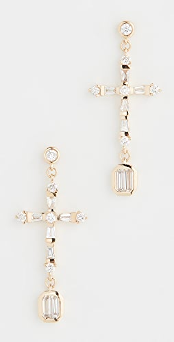 SHAY - 18k Baguette Cross Drop Earrings