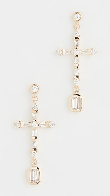 Shay 18k Baguette Cross Drop Earrings