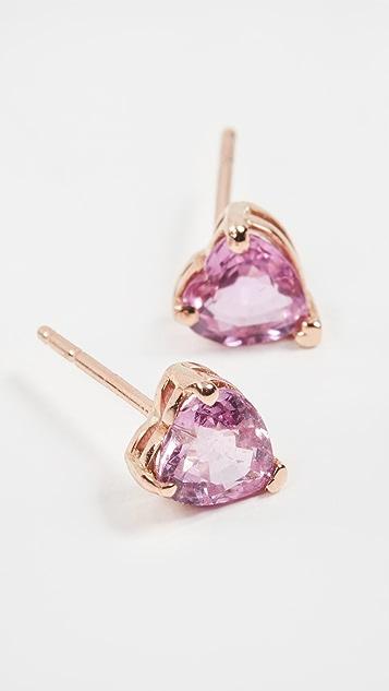 SHAY 18k Pink Sapphire Heart Studs