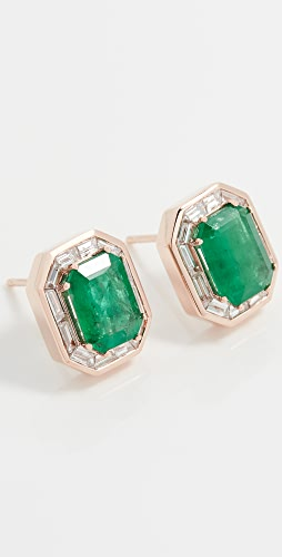 SHAY - 18k Emerald Halo Studs