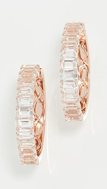 SHAY 18k White Topaz Cut Eternity Hoops