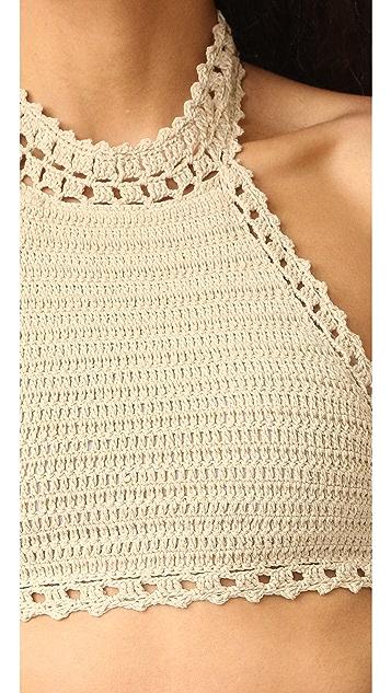 She Made Me Jannah Halter Crochet Bikini Top