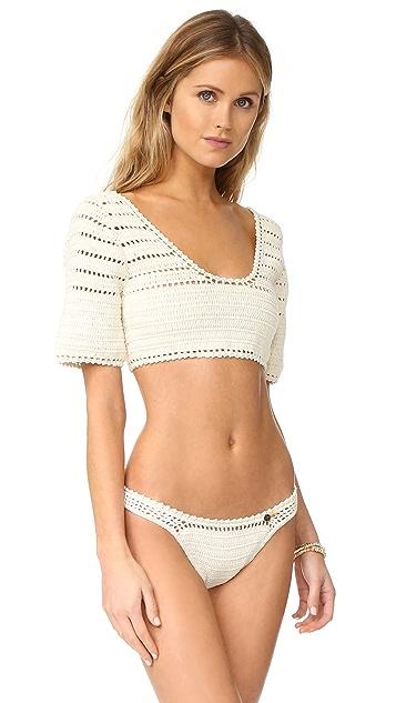 She Made Me Sana Crop Crochet Bikini Top