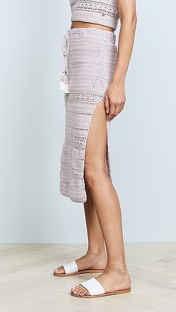 She Made Me Rose Crochet Midi Skirt