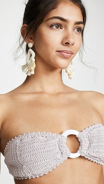 She Made Me Inika Crochet Bandeau Bikini Top