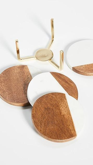 Shopbop @Home Marble/Wood Coasters