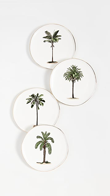 Shopbop @Home Set of 4 Palm Tree Plates