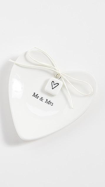 Shopbop @Home Mr & Mrs 心形盘子