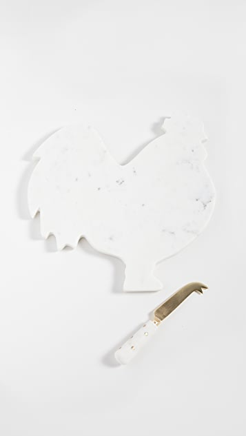 Shopbop @Home Rooster Platter and Cheese Knife Set