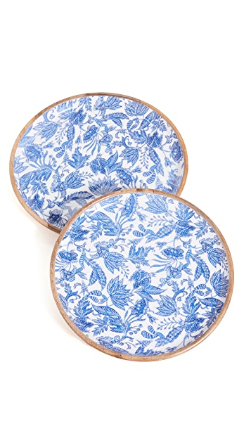Shopbop @Home Blue Batik Wood Round Trays