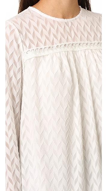 Shoshanna Herringbone Ruffle Sleeve Blouse