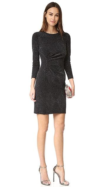 Shoshanna Ruched Metallic Dress