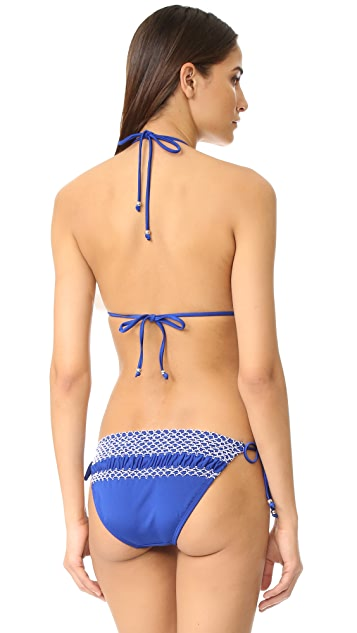 Shoshanna Geo Smocking Bikini Top