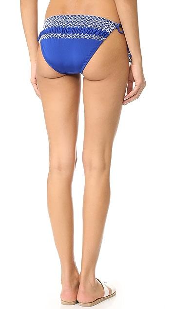 Shoshanna Geo Smocking Bikini Bottoms