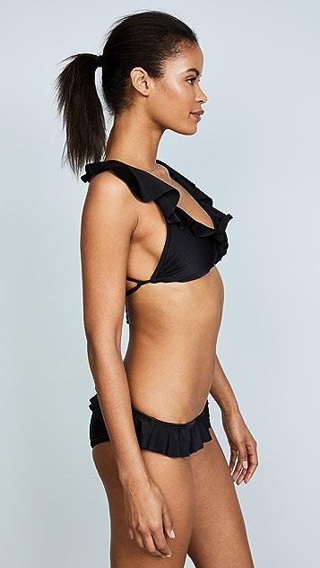 Shoshanna Shiny Black Ruffle Neck String Bikini Top