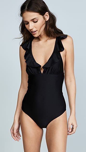 Shoshanna Shiny Black Ruffle Neck One Piece