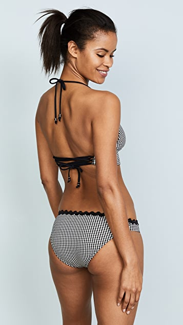 Shoshanna Gingham Jacquard Lace Back Bikini Top