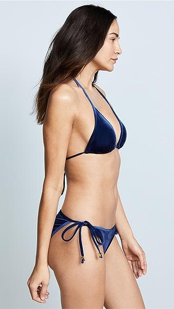 Shoshanna Ocean Velvet Triangle Bikini Top