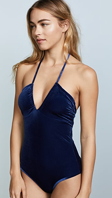 Shoshanna Ocean Velvet Open Neck One Piece