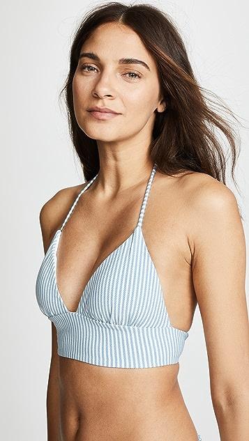 Shoshanna Chambray Pinstripe Lace Back Bikini Top