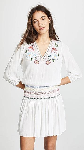 Shoshanna Isla Floral Embroidered Smocked Dress