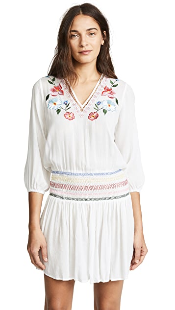Shoshanna Isla Floral Embroidered Smocked Dress