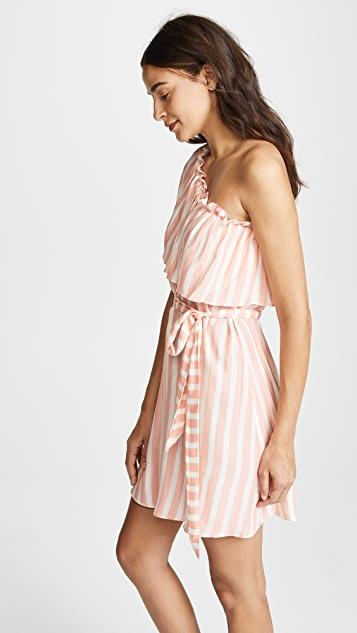 Shoshanna Umbrella Stripe One Shoulder Tie Waist Dress