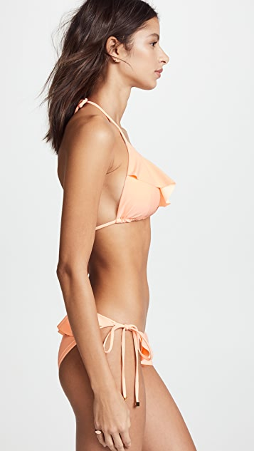Shoshanna Grapefruit Bikini Top with Ruffles