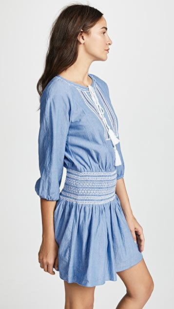 Shoshanna Chambray Embroidery Smocked Waist Dress
