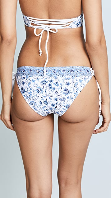 Shoshanna Chambray Paisley Floral Lace Up Bottoms