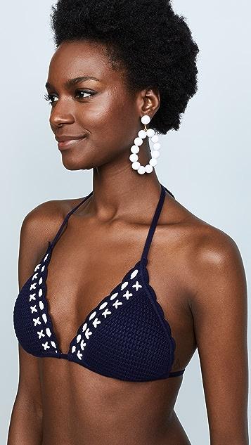Shoshanna Lace Up Crochet Triangle Top