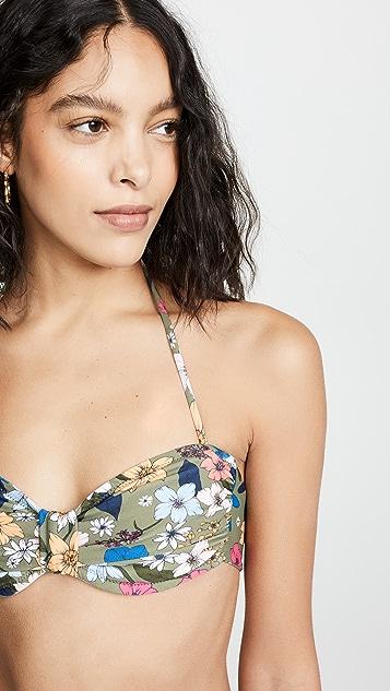 Shoshanna Knot Front Bandeau Bikini Top