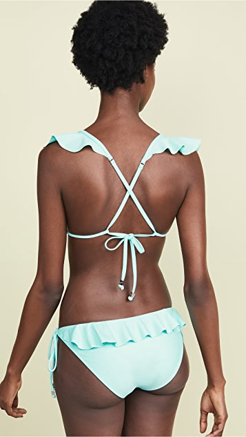 Shoshanna Ruffle Neck String Bikini Top