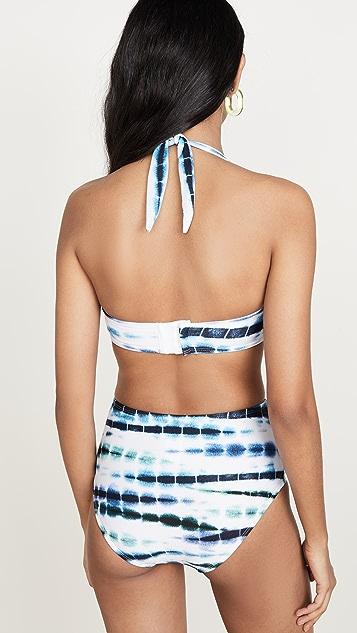 Shoshanna Halter Retro Bikini Top