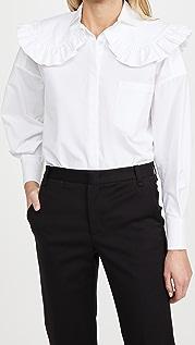 SHUSHU/TONG 圆领宽大衬衫