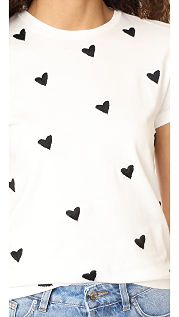Sincerely Jules Heart Embroidered Tee