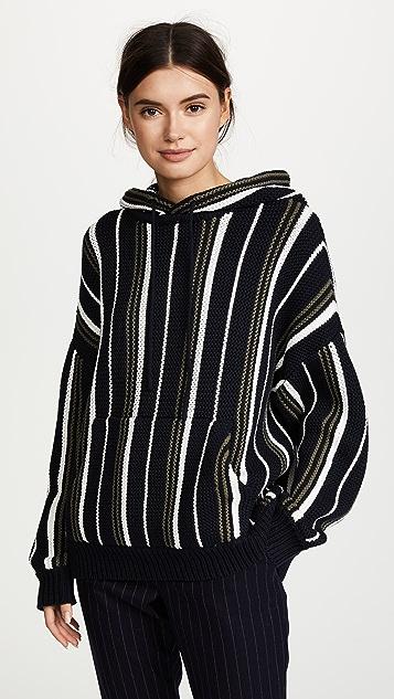 6397 Striped Baja Hoodie - Navy Stripe