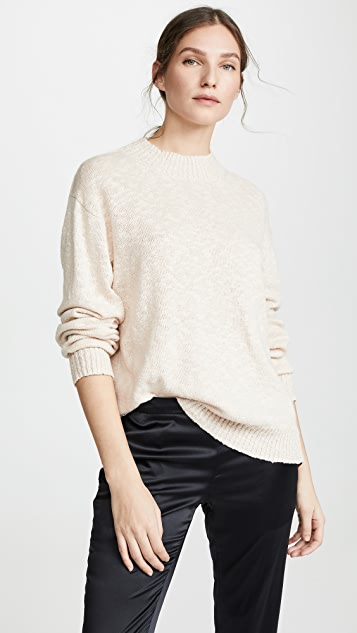 6397 Cable Trim Sweater - Pale Pink