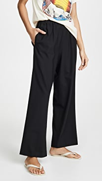 Tropical Wool Wide Leg Pull On Trousers